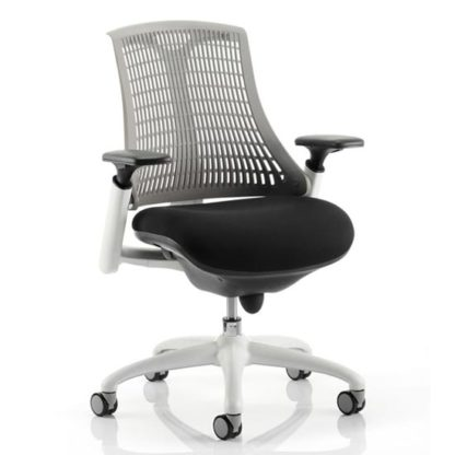 An Image of Flex Task Office Chair In White Frame With Grey Back
