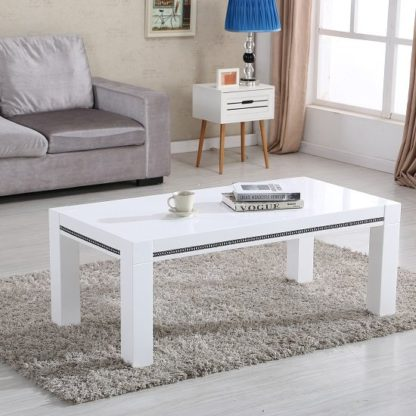 An Image of Diamante Coffee Table In White High Gloss With Rhinestones