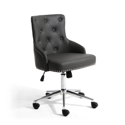 An Image of Calico Office Chair In Graphite Grey With Chrome Base