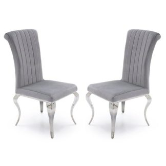 An Image of Galvan Fabric Dining Chair In Silver With Metal Frame In A Pair