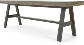 An Image of Edson Garden Dining Bench, Cement and Metal