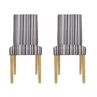 An Image of Lorenzo Striped Dining Chairs In Pair