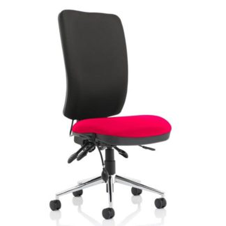 An Image of Chiro High Black Back Office Chair In Tabasco Red No Arms
