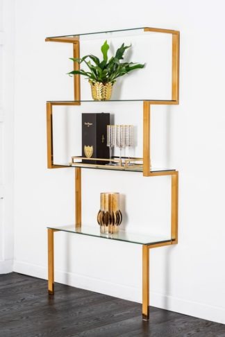 An Image of Miko Single Shelf Unit Brass