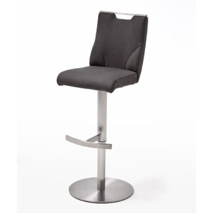 An Image of Jiulia Leather Bar Stool In Anthracite With Steel Base