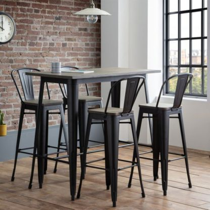An Image of Grafton Bar Set In Mocha Elm With 4 Stools