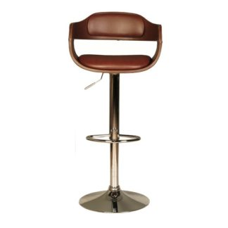 An Image of Haydon Bar Stool In Brown Faux Leather With Chrome Base