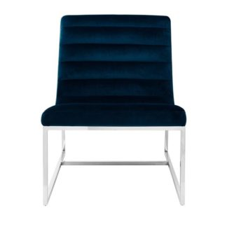 An Image of Sceptrum Midnight Velvet Cocktail Chair Blue