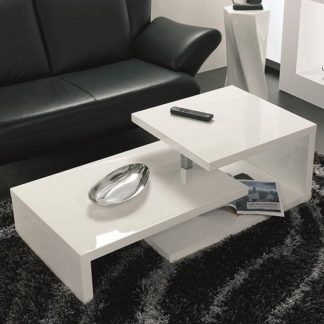An Image of Geno Coffee Table In White High Gloss With Rotation