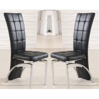 An Image of Ravenna Dining Chair In Black Faux Leather in A Pair