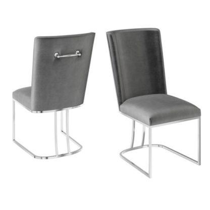 An Image of Ivana Dark Grey Velvet Fabric Dining Chairs In Pair