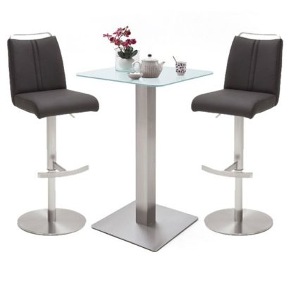 An Image of Soho White Glass Bar Table With 2 Giulia Anthracite Stools