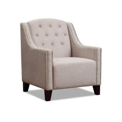An Image of Wilton Armchair In Beige Fabric With Dark Wooden Legs
