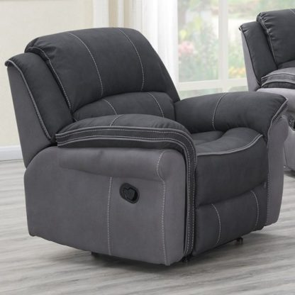 An Image of Koeia Fabric Lounge Chaise Armchair In Charcoal Fusion