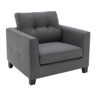 An Image of Rawls Fabric Sofa Chair In Charcoal With Wenge Finish Legs