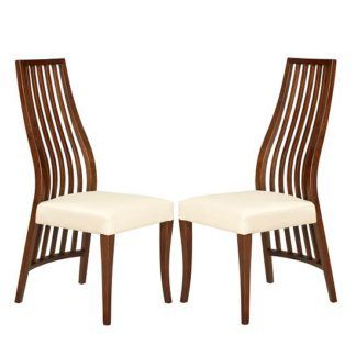 An Image of Riley Dining Chair In Cream With Wooden Frame In A Pair