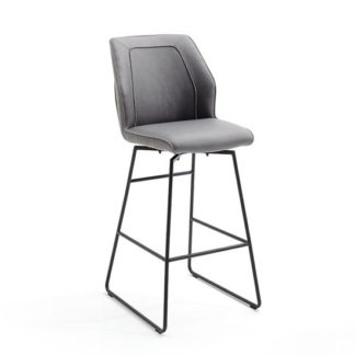 An Image of Aberdeen PU Leather Swivel Bar Stool In Grey