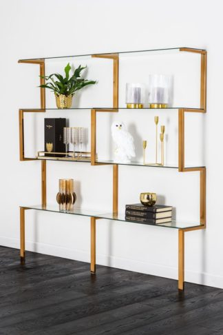An Image of Miko Double Shelf Unit Brass