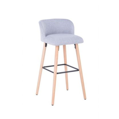 An Image of Gunning Fabric Bar Stool In Grey With Wooden Legs