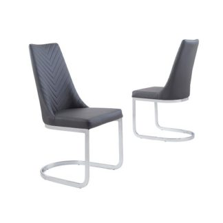 An Image of Roxy Modern Dining Chair In Grey Faux Leather in A Pair