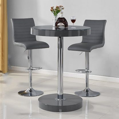 An Image of Havana Bar Table In Grey With 2 Ripple Grey Bar Stools