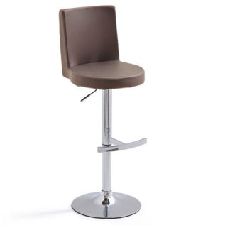 An Image of Twist Bar Stool Brown Faux Leather With Round Chrome Base