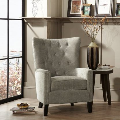 An Image of Riley Fabric Sofa Chair In Mink With Wooden Legs