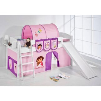 An Image of IDA Dora Children Bed In White With Sliding And Curtains