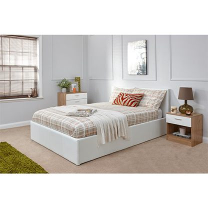 An Image of End Lift Ottoman Double Bed In White