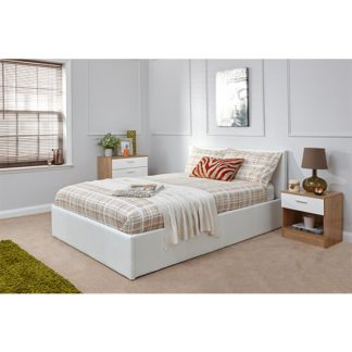 An Image of End Lift Ottoman King Size Bed In White