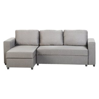 An Image of Dexter Fabric Corner Sofa Bed In Light Grey With Plastic Feet