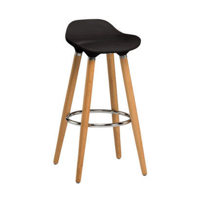 An Image of Adoni Bar Stool In Black ABS With Natural Beech Wooden Legs