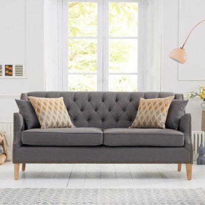 An Image of Kosmo 3 Seater Sofa In Grey Fabric With Natural Ash Legs