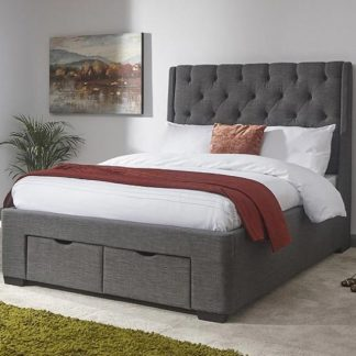 An Image of Castel King Size Bed In Grey Hopsack Fabric With 2 Drawers