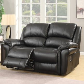 An Image of Claton Recliner 2 Seater Sofa In Black Faux Leather