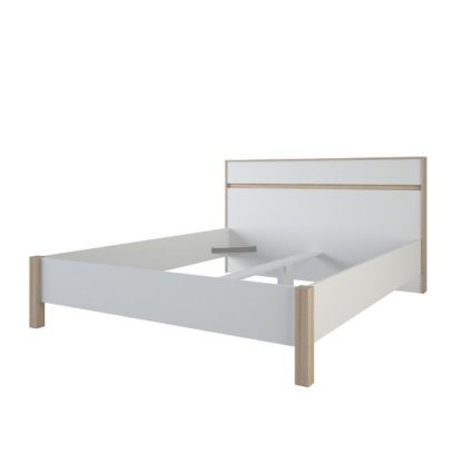 An Image of Corban Wooden King Size Bed In Brushed Oak And White Pearl