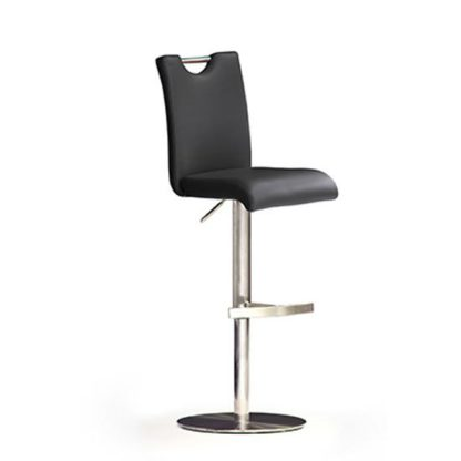 An Image of Bardo Black Bar Stool In Faux Leather With Stainless Steel Base
