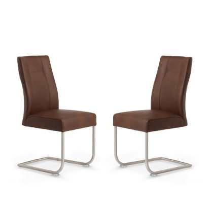 An Image of Telsa Dining Chair In Chocolate Faux Leather In A Pair