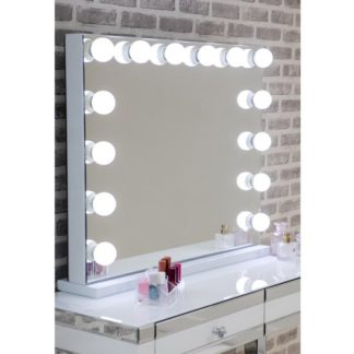 An Image of Hollywood Landscape Dressing Mirror With White High Gloss Frame