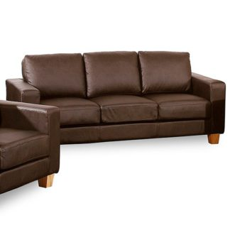 An Image of Wasp PU Leather 3 Seater Sofa In Brown
