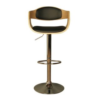 An Image of Molte Bar Stool In Black Faux Leather And Oak With Chrome Base