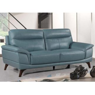 An Image of Watham 3 Seater Sofa In Blue Faux Leather With Wooden Legs