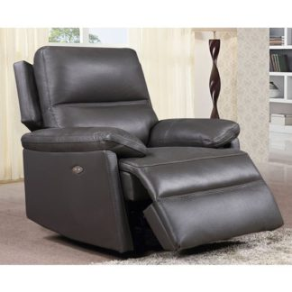 An Image of Bailey Faux Leather Electric Recliner Armchair In Grey