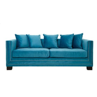 An Image of Pipirima 3 Seater Velvet Sofa In Cyan Blue