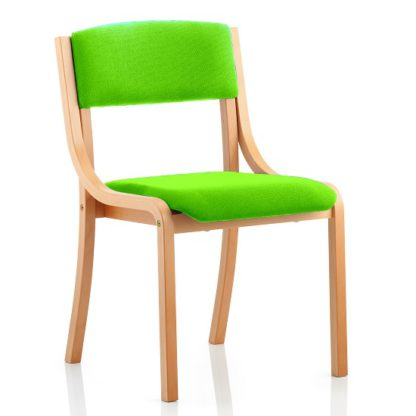 An Image of Charles Office Chair In Green And Wooden Frame
