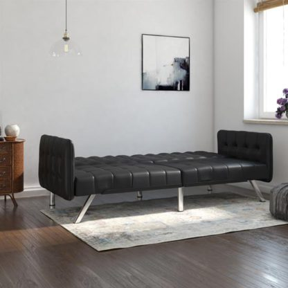 An Image of Emily Leather Convertible Clic Clac Sofa bed In Black
