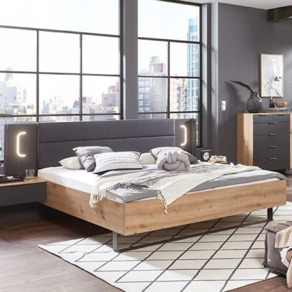 An Image of Shanghai Wooden King Size Bed In Artisan Oak And Graphite