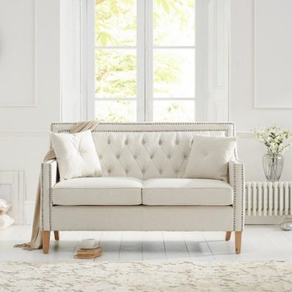 An Image of Bellard Fabric 2 Seater Sofa In Ivory White And Natural Ash Legs