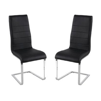 An Image of Evolve Black Finish Dining Chairs In Pair