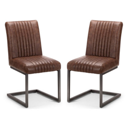 An Image of Brooklyn Antique Brown Leather Dining Chair In Pair